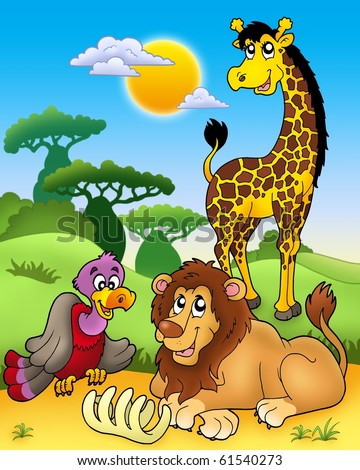 Group of various African animals 3 - color illustration. - stock photo