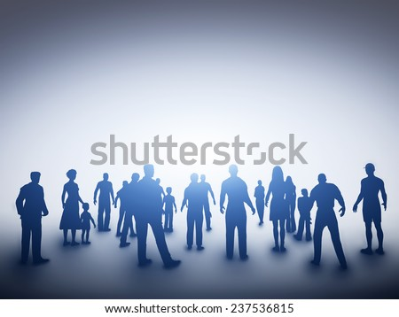 Group of various people silhouettes standing and looking towards light. Concept of society, community, new idea, hope, future or religion etc. - stock photo