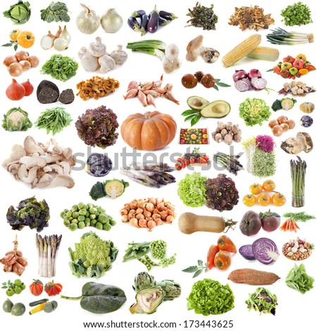 group of vegetables in front of white background - stock photo