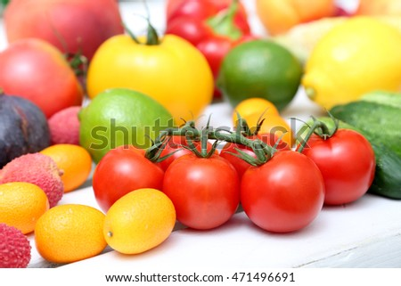 Group of vegetables with cherry