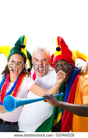 group of very excited soccer fans, isolated on white - stock photo