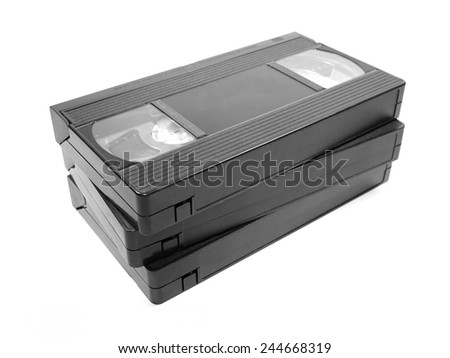 Group of Video Tapes isolated on white background - stock photo