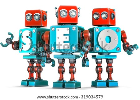 Group of vintage robots with SEO sign. SEO optimization concept. Isolated over white. Contains clipping path. - stock photo