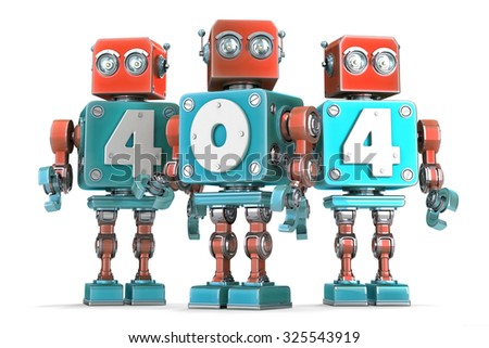 Group of vintage robots with 404 sign. Isolated over white. Contains clipping path. - stock photo