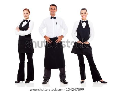 group of waiter and waitress full length portrait on white - stock photo