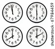Group of wall clocks isolated - stock photo