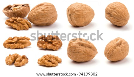 Group of walnuts isolated on a white background. - stock photo