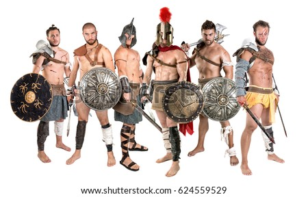 Group of warriors or Gladiators isolated in a white background