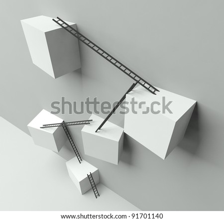 Group of white blocks with a lot of ladders on wall, 3d concept of success - stock photo