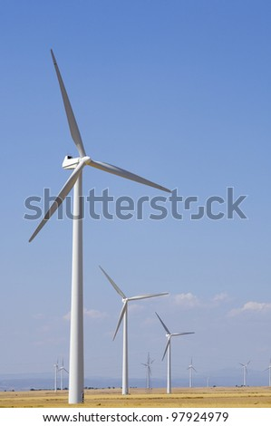 group of wind turbines for renewable electric energy production