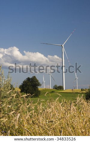 group of windmill in countryside with barley field in the foreground