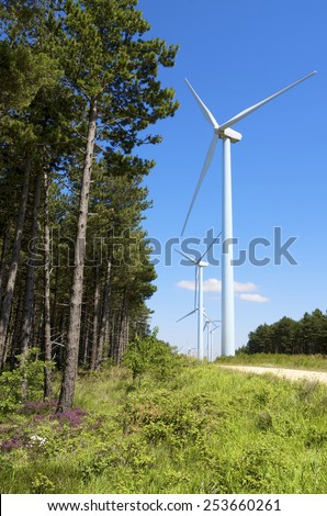 group of windmills for renewable electric energy production and pine forest, Aras, Navarre, Spain - stock photo