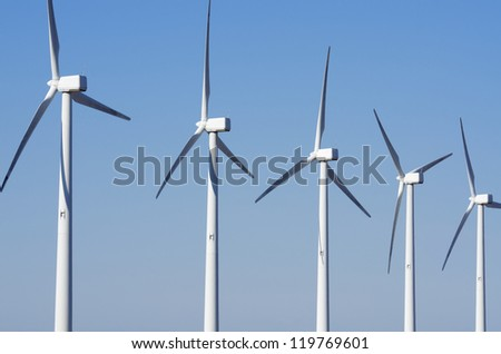 group of windmills for renewable electric energy production, Cintruenigo, Navarre, Spain