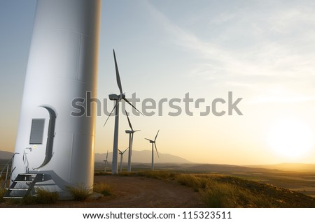 Group of windmills for renewable electric energy production, Fuendejalon, Zaragoza, Aragon, Spain - stock photo