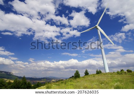 group of windmills for renewable electric energy production, Navarre province, Spain - stock photo