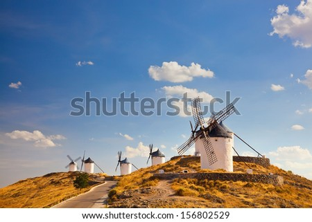 Group of windmills in Campo de Criptana. La Mancha, Spain   - stock photo