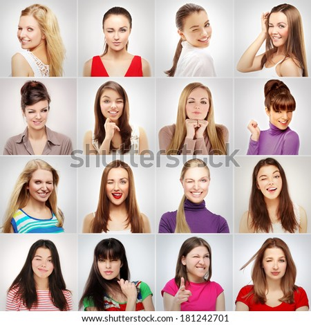 Group of winking women - stock photo
