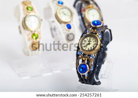 Group of woman watches - fashion background - stock photo