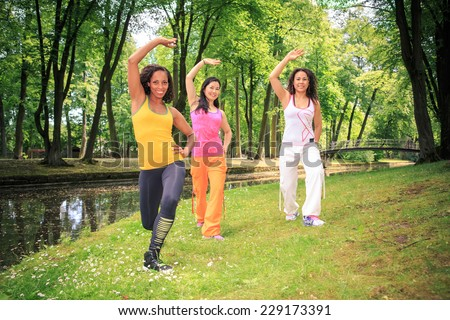 group of women dancing fitness dance zumba or aerobics in an old park - stock photo