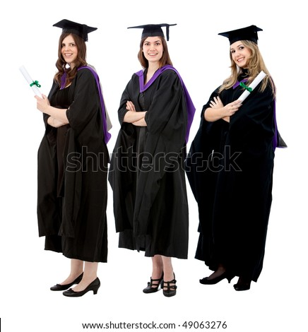 Group of women in their graduation gown - isolated over a white background