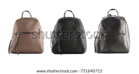 group of women leather backpacks isolated on white background