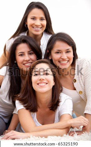Group of women smiling - isolated over a white background - stock photo