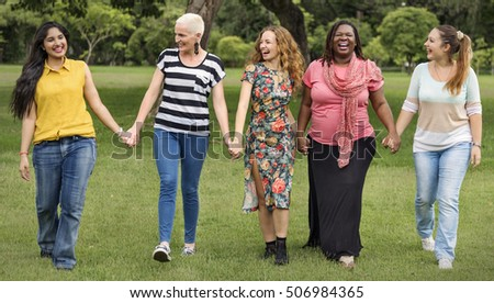 Group of Women Socialize Teamwork Happiness Concept