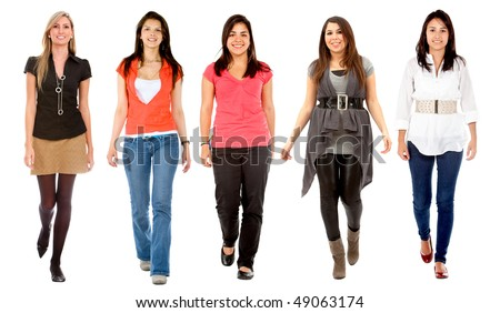 Group of women walking isolated over a white background - stock photo