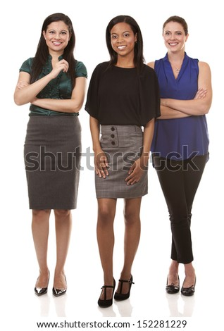 group of women wearing office outfits on white isolated background - stock photo