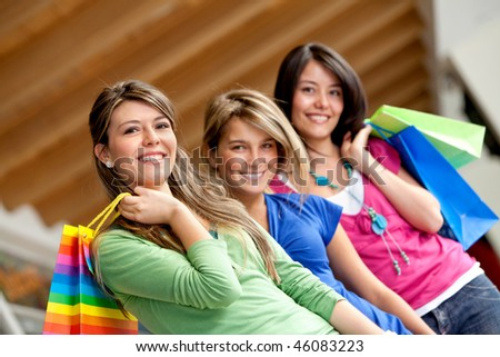Group of women with bags at a shopping center - stock photo