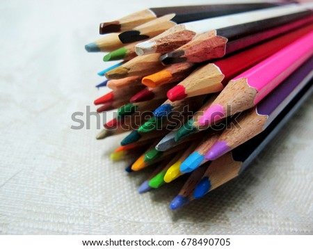 Group of Wooden Colored Pencils , Background