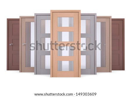 Group of wooden doors. Isolated render on a white background - stock photo