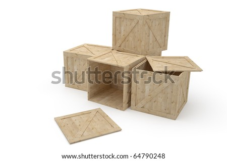 Group of wooden mailboxes Isolated on white background - stock photo