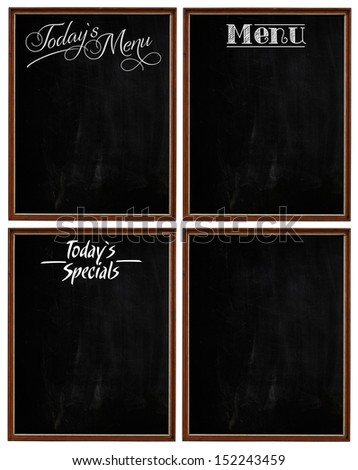 Group of Wooden Picture Frames Used As Today`s Specials, Today`s Menu, Menu Chalkboard Blackboard Isolated On White - stock photo