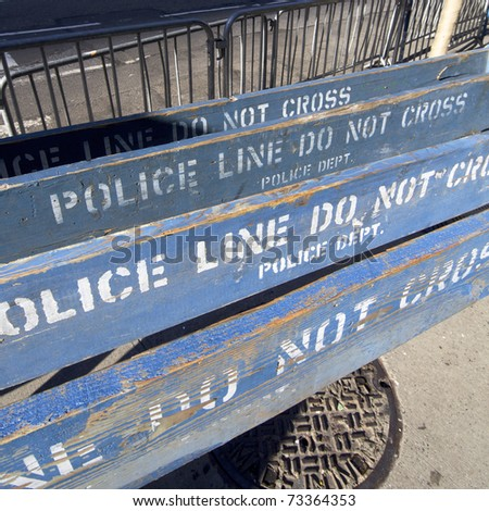 group of  wooden police barricades in the city of new york,  usa - stock photo