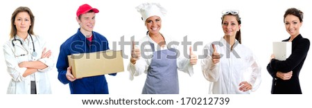 Group of workers. Doctor, Courier, Chief cook, Chemist and Secretary. - stock photo