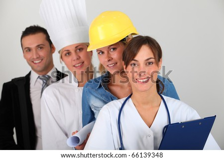 Group of workers on white background - stock photo