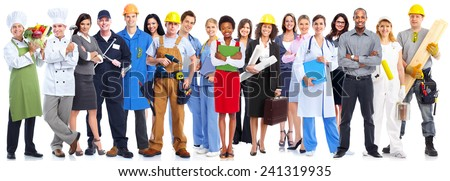 Group of workers people. Isolated on white background
