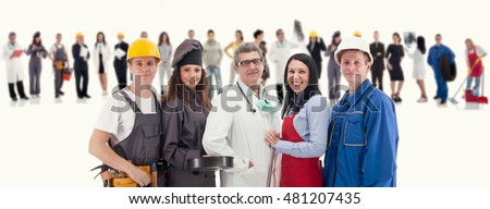 Group of workers people on white background