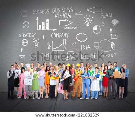 Group of workers people over grey wall background - stock photo