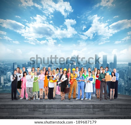 Group of workers people over urban background - stock photo