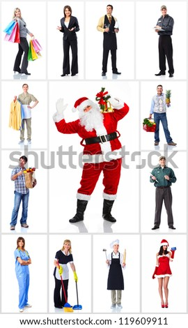 Group of workers people set. Isolated over white background. - stock photo