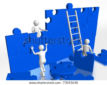 Group of workers solving a puzzle. Concept of teamwork - stock photo