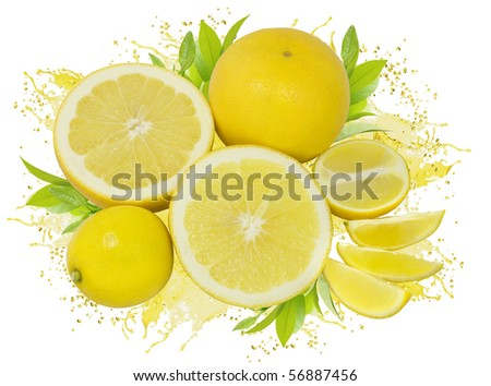 group of yellow lemons and grapefruits with green leaves and juice splash isolated on white - stock photo
