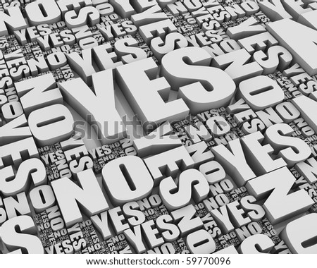Group of yes and no words. Part of a series. - stock photo