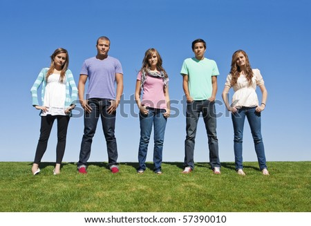 Group of Young Adults or Teenagers - stock photo