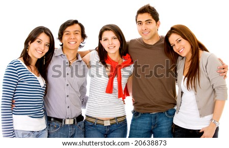 group of young adults smiling - isolated over a white background - stock photo