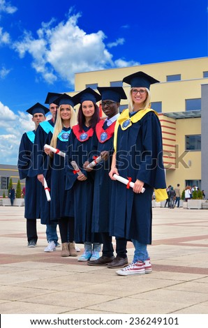 group of young and successful students, black, white, and beautiful blonde girls the celebration certificate - stock photo