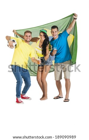 group of young attractive supporters celebrating football with the Brazil flag