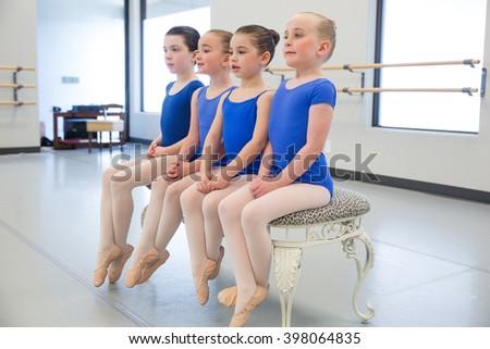Group of young ballerinas - stock photo